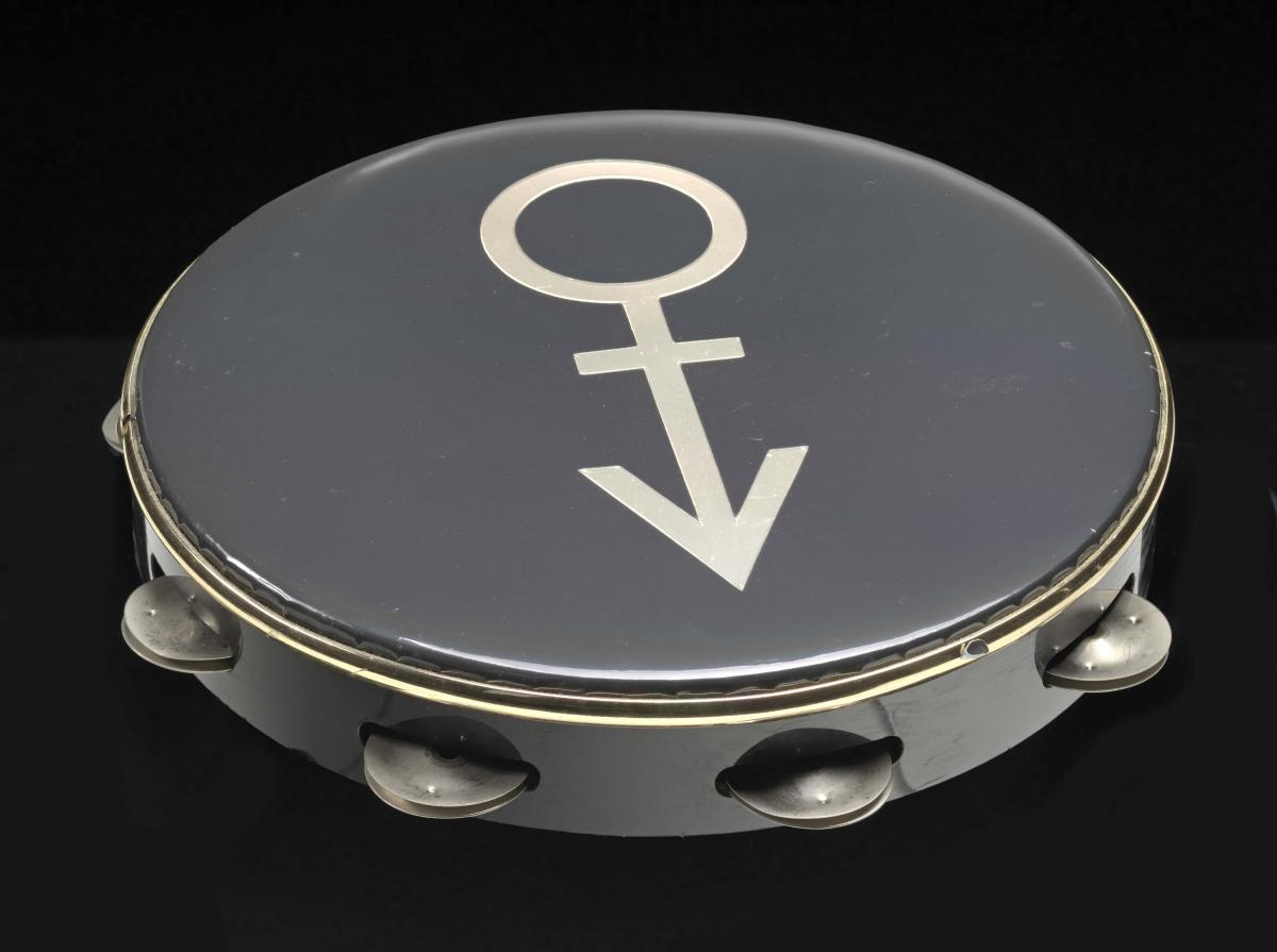 Tambourine used on stage at Wembley Stadium during Prince's Nude Tour, 1990, Collection of the Smithsonian National Museum of African American History and Culture