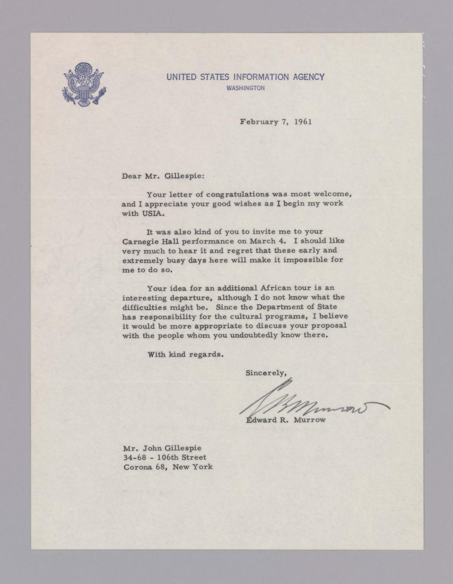 Letter to Dizzy Gillespie from Edward R. Murrow regarding an African tour, February 7, 1961, Collection of the Smithsonian National Museum of African American History and Culture, Gift of Paxton and Rachel Baker