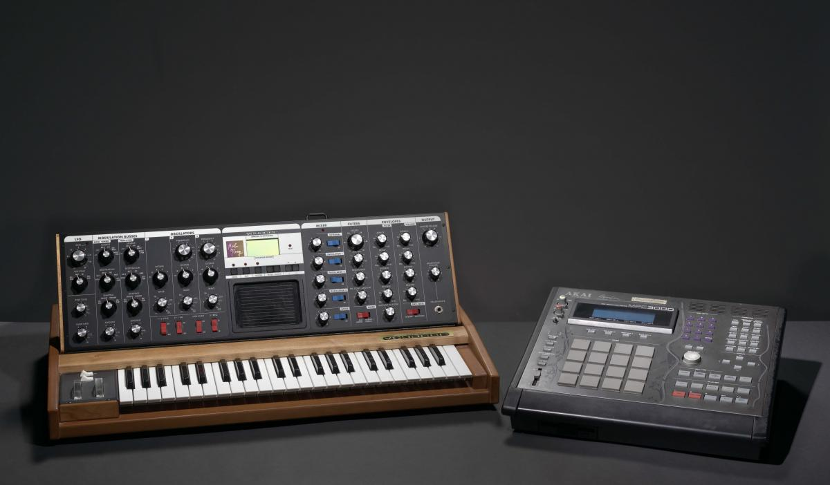 Minimoog Voyager synthesizer and MIDI Production Center 3000 Limited Edition used by J Dilla, 2002-2005 and 2000, Collection of the Smithsonian National Museum of African American History and Culture, Gift of Maureen Yancy