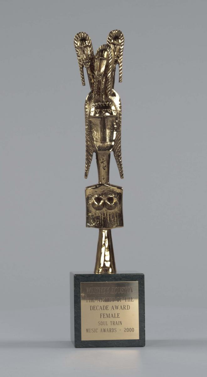 Soul Train trophy for Artist of the Decade - Female given to Whitney Houston, 2000, Collection of the Smithsonian National Museum of African American History and Culture, Gift of the Estate of Whitney Houston