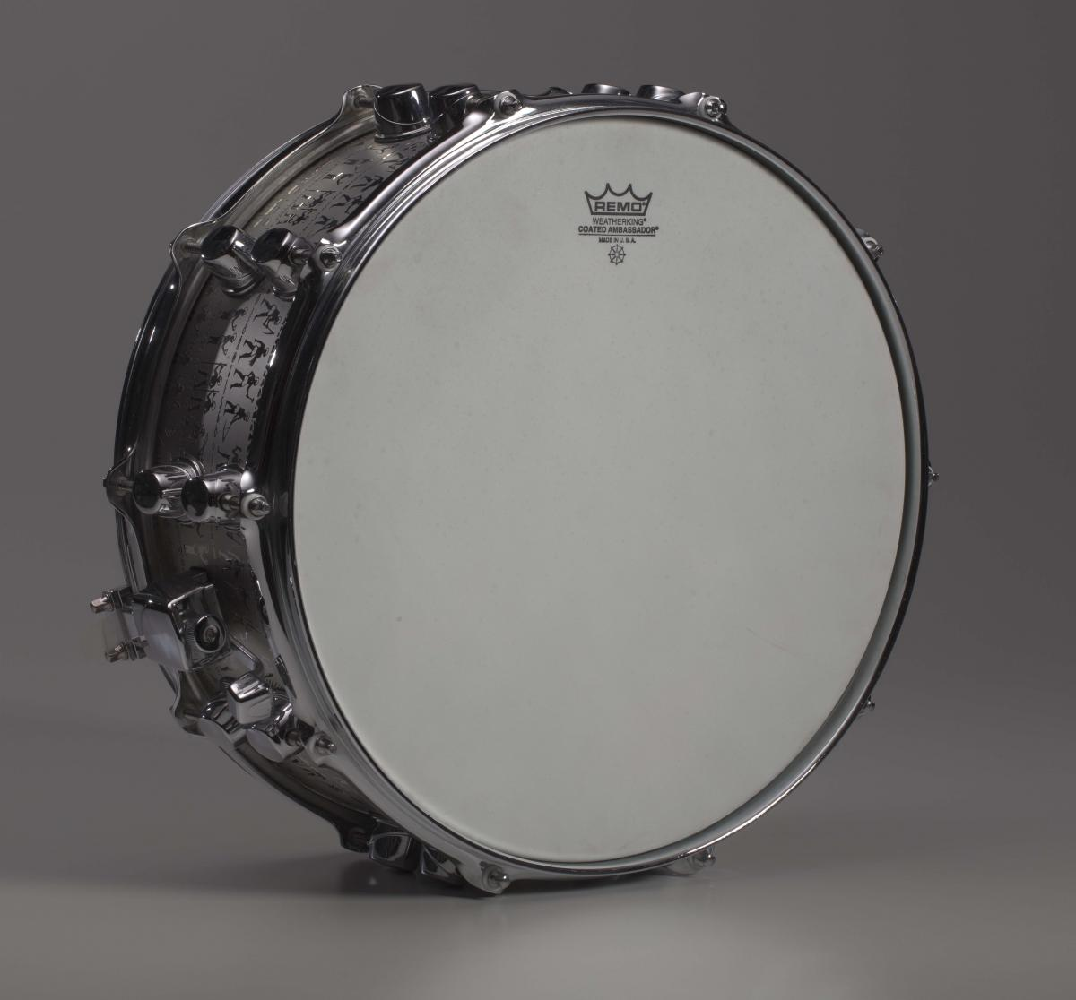 Custom Mapex black panther snare drum owned by Will Calhoun, 2005, Collection of the Smithsonian National Museum of African American History and Culture, Gift of Will Calhoun