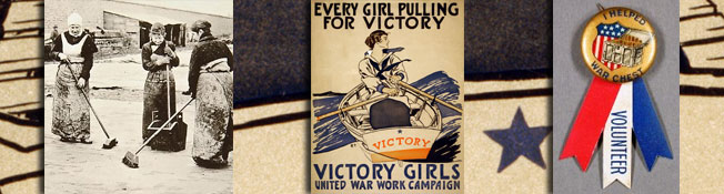 Header Image, Women in WWI: Music, composite of collections images of a photo, poster, and badge.
