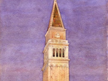 """Bell Tower, St. Mark's Square, Venice."" Cass Gilbert (1858–1934). 1912. Watercolor and pencil on paper. Smithsonian American Art Museum."