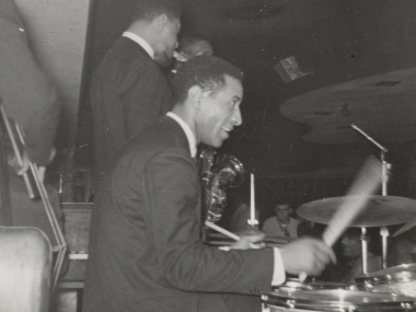 George Morrow, Max Roach, Sonny Rollins and Kenny Dorham on stage], 196-? / unidentified photographer. Gertrude Abercrombie papers. Archives of American Art, Smithsonian Institution.