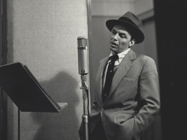 Frank Sinatra in a New York City recording studio, 1956. Photograph by Herman Leonard. Herman Leonard Collection, Archives Center, National Museum of American History.