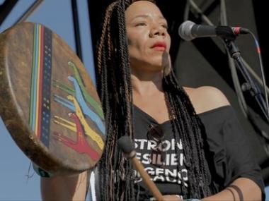 Martha Redbone with drum