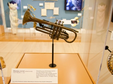 Marceau cornet owned by Louis Armstrong's teacher. Armstrong probably learned to play on this cornet. On view at the Musical Instrument Museum. Loan courtesy of National Museum of American History, Smithsonian Institution.
