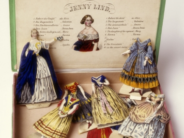 Paper doll, Jenny Lind paper doll, and ten costumes designed for her operatic roles, from around 1850. Lithograph on paper. Cooper Hewitt, Gift of Mrs. Fredick Rosengarten, 1952-8-1.