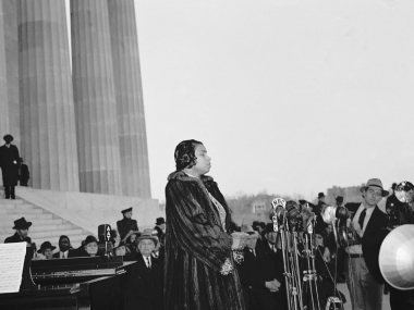 Marian Anderson performing at the Lincoln Memorial on Easter Sunday, April 9, 1939.