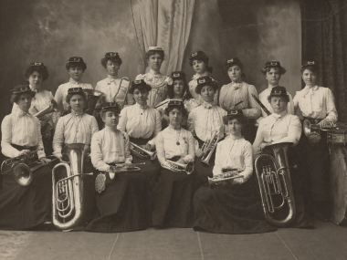 A ca. 1902 photograph of the Helen May Butler and her Ladies Military Brass Band from the National Museum of American History Archives Center.