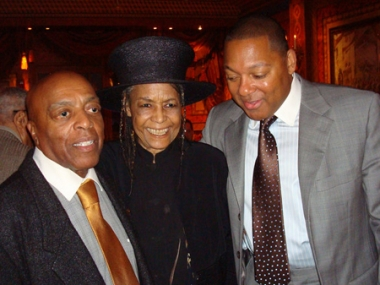 Abbey Lincoln with old friends (and fellow NEA Jazz Masters) Roy Haynes (left) and Wynton Marsalis (right) at the 2008 NEA Jazz Masters Reunion Lunch. Photo courtesy Katja von Schuttenbach.
