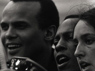 Harry Belafonte, Leon Bibb, and Joan Baez