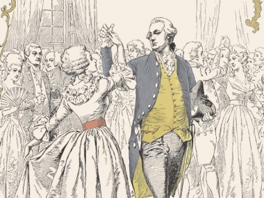 Cover featuring George Washington dancing the minuet with a Mrs. Maxwell at his inaugural ball, Harper's Bazaar, May 11, 1889.
