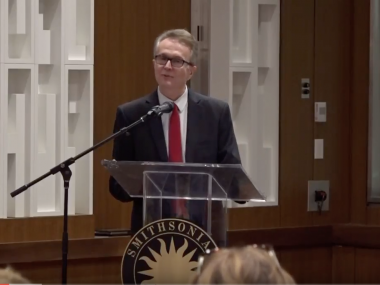 Screenshot from video of John Hasse's Rewirement Speech
