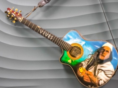 Painted guitar from Carlos Vives