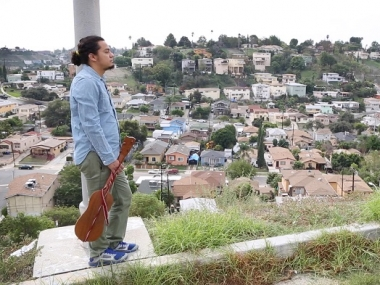 César Castro looking over valley