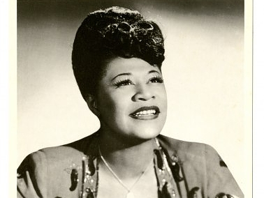 Ella Fitzgerald depicted on a postcard. The image is from 1948, and the photograph is by Bruno of Hollywood. Ella Fitzgerald Papers, Archives Center, National Museum of American History.