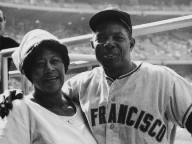 Ella Fitzgerald poses with Willie Mays, who was a player for the San Francisco Giants. Ella Fitzgerald Collection, Archives Center, National Museum of American History.