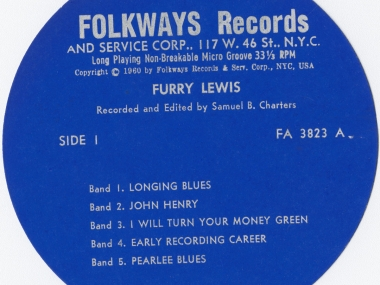 Closeup of FW03283 Furry Lewis, album from Folkways Records.