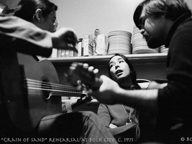 """Grain of Sand Rehearsal at Folk City c. 1971,"" copyright Bob Hsiang, Smithsonian Folkways Magazine Spring 2011 Cover Image"