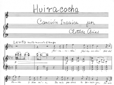 Hand-written copy of Huiracocha, by Clotilde Arias