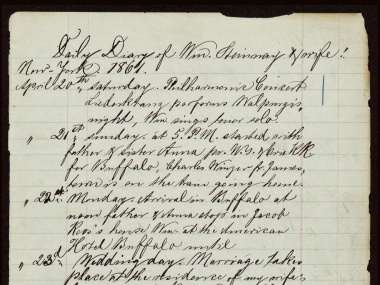Page of William Steinway's Diary, Steinway & Sons Records and Family Papers, 1857-1919, Archives Center, National Museum of American History
