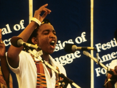 Members of the South African Double Quartet perform South African protest songs in the Musics of Struggle program at the 1990 Festival of American Folklife in Washington, D.C.