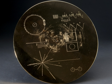 """Voyager """"Sounds of Earth"""" record cover, 1977, National Air and Space Museum, Transferred from the National Aeronautics and Space Administration"""