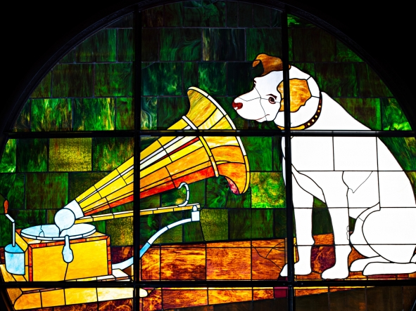"Stained glass window with RCA ""Nipper"""